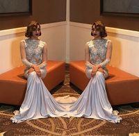 Wholesale lavender dresses for girls - Sexy Mermaid Prom Dresses For Black Girl 2018 Beading Elegant Long Sleeve Party Formal Evening Dresses