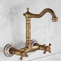 Wholesale antique brass bathroom faucet online - Rotatable Minimalism Water Tap Brass Mounted Kitchen Bathroom Sink Faucet Dual Antique Entry Into The Wall Stopcock Home Decor yj jj