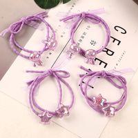фиолетовые полосы для волос оптовых-1PC Handmade New Fashion Purple Shiny  Elastic Rubber Bands Headwear Women Girl Ponytail Hair Rope Child Hair Accessories