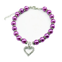 Wholesale Large Purple Rhinestones - New Diamante Heart Rhinestone Pendant Pearl Necklace Collar Pet Jewelry Honden Halsband Dog Supplies Pet Collar Dog
