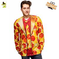 novo vestido de fantasia venda por atacado-2018 Nova Chegada Pizza Impresso T-shirt Traje Fancy Dress No Partido do Carnaval Role Play Pizza T-shirt de Manga Longa Para homens Tees
