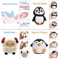 Wholesale cute penguin cartoons - Cute Kawaii Unicorn Penguin Sheep Squishy Slow Rising Cartoon Doll Cream Scented Decompression Squeeze Toys Best Christmas Birthday Gift