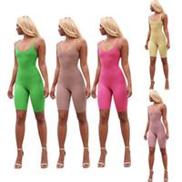 ingrosso yoga jumpsuits-5 colori donne pagliaccetti di yoga senza maniche aderente solido abbigliamento metà-short pantaloni tuta esercizio fitness tuta sport palestra pagliaccetti LJJA21