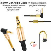 Wholesale Spring Coiled Cable - 3.5mm Male to Male Auxiliary Stereos Audio Cable Cord Flat 90 Degree Right AUX Cable with Steel Spring Relief for Headphones i7 s8 Home Car