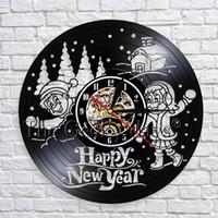 ingrosso disegni paesaggistici moderni-1 pezzo felice anno nuovo saluto vinile orologio da parete 3d orologio design moderno palla di neve volo innevato paesaggio wall art decor