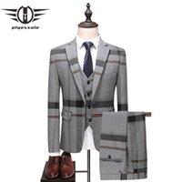 ingrosso maglia grigia tuxedo blu-Plyesxale Blue Grey Suit Uomo 2018 Slim Fit Mens Tuxedo Abiti da sposa Per uomo Classico Tute da uomo Giacca formale Pantaloni Vest Q385