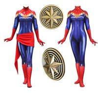 Wholesale superheroes woman costume online - Movie Anime Captain Marvel Carol Danvers Avengers Cosplay Costume Superhero Zentai Halloween Carnival Party For Adult Women leotard