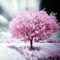 árvore de pintura diamante diy venda por atacado-square drill costura completa diy 3d transversal do ponto de diamante pintura de flores rosa tree imagens de kits de bordados de strass mosaico