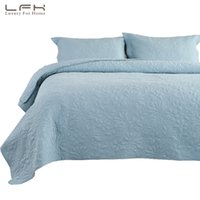ingrosso set di quiletto ricamato-LFH King Blue Copriletto Coperta reversibile ricamata con fodere per cuscini Set da letto copriletto Flower Quilt Bedding Decor Tiro