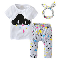diadema de la camiseta infantil al por mayor-Nuevo 2018 Summer Baby Girl Clothes Recién nacido de manga corta Color impreso T-shirt + Pants + Headband 3 Unids Toddler Infant Clothing Set