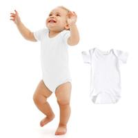 Wholesale Baby Bodysuits Short Sleeve - Hot Sale Summer Baby Romper 100% Cotton Short Sleeve Bodysuits Boy Girl Jumpsuit Solid Color Infant Clothing Creppers Suit For 0-18M