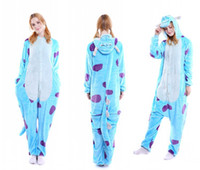 Wholesale one piece pajamas for adults - Free Shipping Autumn and Winter Unisex Cartoon Animal onesies for adults animal flannel Cosplay one Piece Kigurumi pajamas for men and women