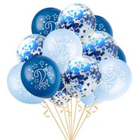 15pcs Set Happy Birthday Printed Latex Balloons For Baby Shower 2nd Party Decorations 1 2 Years Old Kids Favor