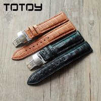 Wholesale crocodile leather watchband for sale - Group buy TOTOY Classic Crocodile Leather Watchbands MM Double Press Folding Buckle Men s Leather Watchbands