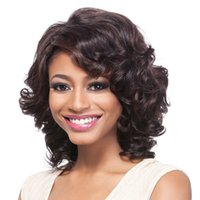 perruque de longueur moyenne brune foncée achat en gros de-Perruques synthétiques Afro-Américain pour femmes avec Bangs obliques