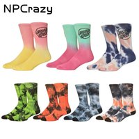 Wholesale funny ties - New Santa Cruz Socks Skateboard High Quality Cotton Basketball Socks Sport Colorful Tie Dye Funny Socks Men Sock Running