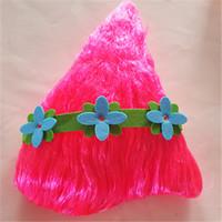 diadema de amapola al por mayor-Trolls Poppy Wig + diadema para niños 36cm Peluca niños Cosplay Party Supplies Trolls peluca rosa EN STOCK