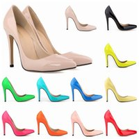 Wholesale orange dress shoes for women - Women Shoes Red Bottoms High Heels Sexy Pointed Toe Patent Leather Red Sole high heels for Women Wedding shoes US 4-11 D0242