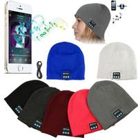 Wholesale warm music hat online - Bluetooth Music Warm Beanie Hat Colors Wireless Cap Headset Headphone Speaker Outdoor Sport Beanie Party Hats OOA5564