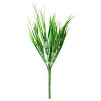 getrocknete blumen großhandel-Trockenblumen 10 Teile / los 7 Gabel Künstliche Grünpflanzen Kränze Kunststoff Frisches Gras für Hochzeitsdekoration Home Store Dekoration Blumen