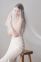 Wholesale fingertip pearl wedding veil resale online - 2019 New Designer Cheap White Ivory Long Wedding Veils Pearls Beads Bridal Veils Wedding Accessories CPA1423