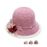 Wholesale holiday tops for women - Summer Hat Lady Breathable Broad Edge Weave Flower Women Designer Caps For Sandy Beach Holiday Sunscreen 8 3zy U U