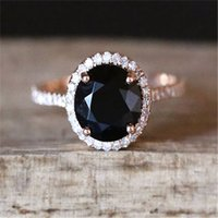ingrosso le pietre nere squillano le donne-Anelli di pietra nera per le donne anello di fidanzamento di nozze regalo anello di cristallo oro rosa gioielli di lusso bague femme anillos mujer z3d167