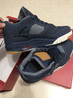 Wholesale Jeans Cut Man - 2018 LS x Air Retro 4 Denim AO2571-401 Men Basketball Shoes Retros 4S Blue Jeans NRG Jiont Limited Sneakers With Original Box