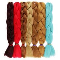 x pression haare zöpfe großhandel-Synthetische Flechten Crochet Hair Extensions Einfarbig X-pression Flechten Hair Crochet Box Braids Jumbo Braids Günstige Haare für den Großhandel