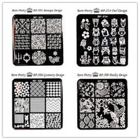 cat stamps Australia - 1 Pc BORN PRETTY Square Nail Stamping Template Floral Cute Cat Owl Design 6*6cm Manicure Nail Art Image Plate
