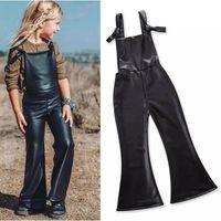 Wholesale Leather Jumpsuit Wholesale - Girls PU leather suspender pants INS Flare Overalls pants 2018 NEW kids Jumpsuits Children Boutique clothes B11