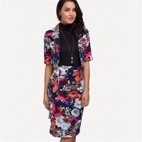 yarım kat kıyafeti toptan satış-2018 Kadınlar Suit Set Elegent Ofis Lady 2 Parça Set Artı Boyutu Çiçek Yarım Kollu Kısa Ceket Ceket ve Kalem Etek Setleri Talever