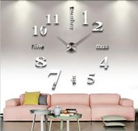 relógios mudo venda por atacado-Decorações da sala de estar quarto adesivos de parede Diy relógio personalizado Home Art 3D espelho relógio de parede mudo relógio