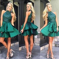 Wholesale short cocktail dresses emerald green resale online - 2018 Custom Made Emerald Green Short Prom Dresses High Neck Beaded Satin Mini Homecoming Dresses Charming Cocktail Party Dress