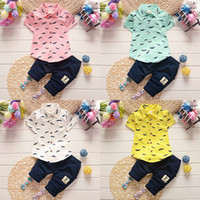 Wholesale boys moustache - Baby boys moustache print outfits children beard shirt+pants 2pcs set 2018 summer suit Boutique kids Clothing Sets 4 colors C4552