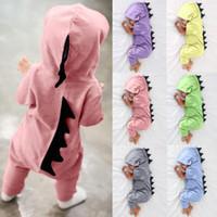 bebek çocuk kukuletalı romper toptan satış-Yenidoğan Bebek Erkek Bebek Kız Dinozor Kapşonlu Romper Tulum Kıyafetler Için Giysi Kawaii Katı Giyim tulum Unisex