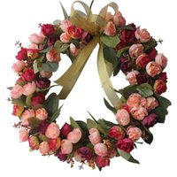 Wholesale Blossom Roses - Rose Wreath Artificial Flower Blossom Garland, Floral Wreaths Flowers Arrangements, 14 Inch, Spring Front Door Decor Home Office Wall Weddin