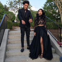 Wholesale Girls Vintage Shirt - 2018 Two Piece Black Girl Prom Dresses Lace Long Sleeves Sequins A-Line Tulle Side Split Evening Gowns Cheap Sexy Girls Occasion Party Dress