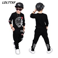 Wholesale kids hip hop pants - Skull Letters Kids Teenage Boys Pringted Clothing Sets Hip Hop Sports Suits Causal Tops Harem Pants Boys Clothes Causal Clothing