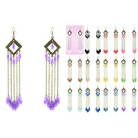 araña de rombos al por mayor-Rhombus Bead Earrings 12 Colores Chain Hook Chandelier Cuelga Sheer Water Drop Bead Gota al por mayor Lotes (Amarillo Blanco Negro Rojo) (JC044)