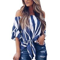 camiseta de las mujeres del hombro al por mayor-Las mujeres atractivas del hombro fuera de las camisetas de zebra Puff manga corta de manera femenino de la gasa de la camiseta de las rayas verticales camiseta