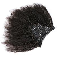 монгольские кудрявые вьющиеся волосы оптовых-Slove Роза продукт афро кудрявый вьющиеся клип в наращивание человеческих волос 100% монгольский Реми волос 8 штук и 120 г / компл. естественный цвет