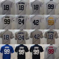 Wholesale cheap 42 - #18 Didi Gregorius Jersey New York Mens 24 Gary Sanchez 42 Mariano Rivera 99 Aaron Judge Baseball Jerseys Cheap White Navy Grey Blue S-XXXL
