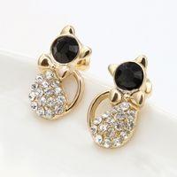 Wholesale Cat Crystal Stud Earrings Gold - 2018 New Fashion Cute Cat Crystal Stud Earrings Animal Bijoux Bow Gem Earring For Women Charm Wedding Girl Jewelry