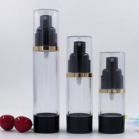 Wholesale airless cosmetic bottles for sale - Group buy 15ML ML ML Empty Black Airless Lotion Cream Pump Plastic Container Cosmetic Bottle fast shipping F488