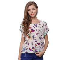 Wholesale Red Dolman Sweater - 2018 summer ladies' short sleeved Chiffon sweater, European and American big code bat sleeve round collar small bird print T-shirt