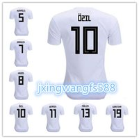 Wholesale Germany National - 2018 world cup Germany national team home white Soccer Jersey #13 MULLER #5 HUMMELS #10 OZIL #8 KROOS Football shirt away Green