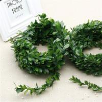diy araba düğün dekorasyonları toptan satış-İpek Çelenk Yeşil Yaprak Demir Tel Yapay Çiçek Asma Rattan Içinde Araba Dekorasyon Diy Düğün Flo 3.75 M için 150 Inç / Adet