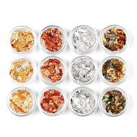 12 frascos venda por atacado-NOVO! 12 Jars Nail Art Solto Glitter Floco Sparkles Nail Art Stickers DIY Metálico Folha De Ouro De Prata Holo Foil 12 Caixa / lote