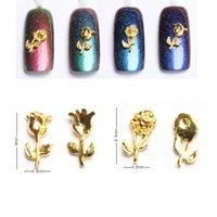 nagelkunst goldrosen großhandel-10pcs Nail Art Aufkleber Decals 3D Vintage Blumen Rosen Metallic Gold Metall Knospe Rose Form Metallic Nail Dekorationen Studs Gems
